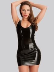 Rubber Girl Latex Mini Dress, Black, hi-res