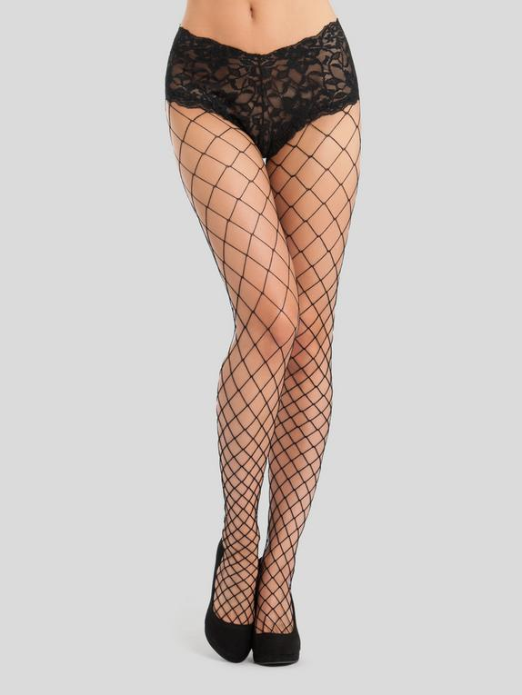 Lovehoney Black Fence Net Tights with Crotchless Knickers, Black, hi-res