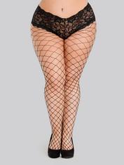 Lovehoney Plus Size Black Fishnet Pantyhose with Crotchless Panties, Black, hi-res