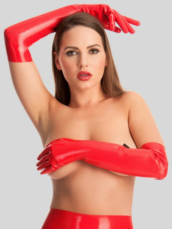 Rubber Girl Latex Long Latex Gloves, Red, hi-res