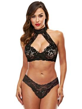 Baci Lingerie Black Lace Collared Bra Set