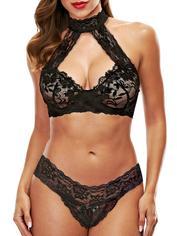 Baci Lingerie Black Lace Collared Bra Set, Black, hi-res