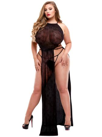 Lapdance Plus Size Black Long Lace Gown