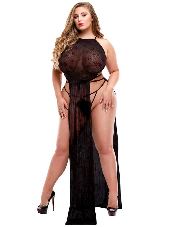 Lapdance Plus Size Black Long Lace Gown, Black, hi-res