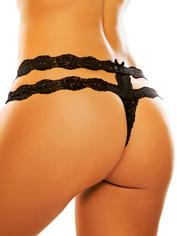 Adore by Allure Black Crotchless Lace Strap Thong, Black, hi-res