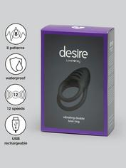 Desire Luxury Rechargeable Vibrating Double Love Ring, Black, hi-res