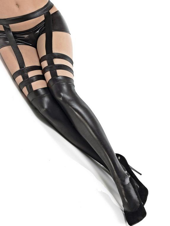 Coquette Black Wet Look Harness Garter Pantyhose, Black, hi-res