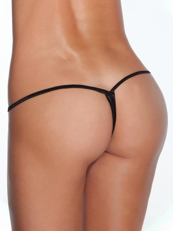 Coquette Black Low Rise G-String, Black, hi-res