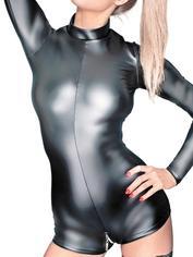 Noir Black Wet Look Long Sleeve Crotchless Body, Black, hi-res