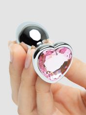 Lovehoney Jeweled Heart Metal Beginner's Butt Plug 2.5 Inch, Silver, hi-res