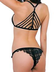 Escante Black Front-Opening Strappy Lace Bra Set, Black, hi-res