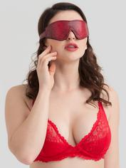 Bondage Boutique Faux Snakeskin Blindfold, Red, hi-res