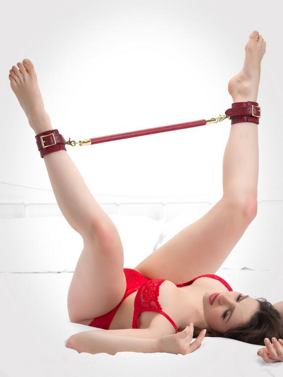 Bondage Boutique Faux Snakeskin 16 Inch Spreader Bar with Cuffs, Red, hi-res