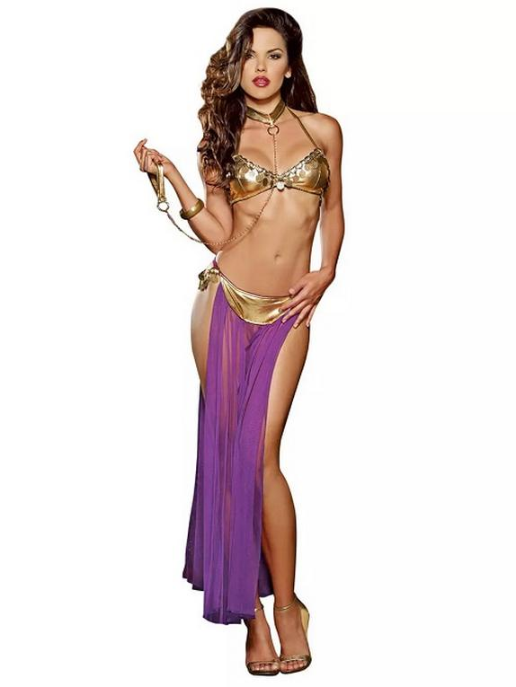 Dreamgirl Gold Captive Princess Costume , Purple, hi-res