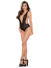 Escante Black Backless Lace Pearl Thong Body , Black, hi-res