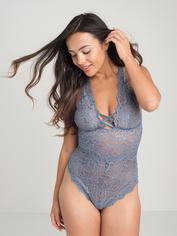 Lovehoney Grey Shimmering Criss-Cross Crotchless Lace Teddy, Grey, hi-res