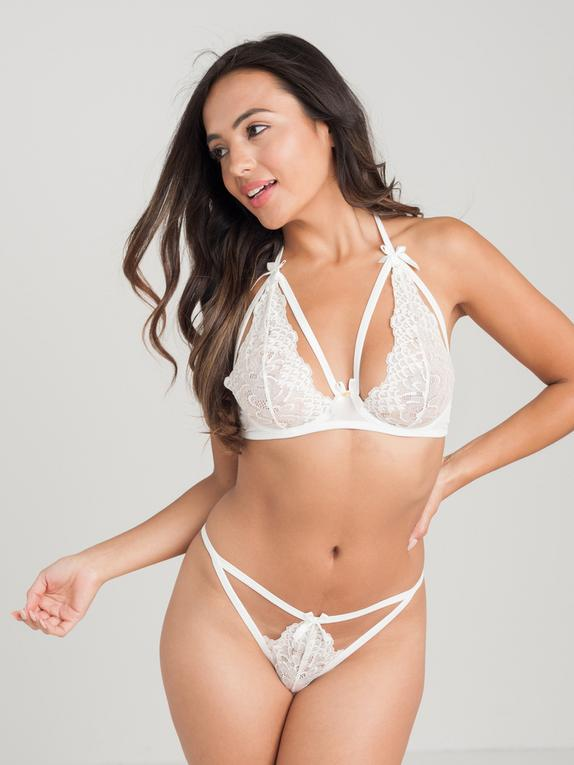 Lovehoney Pure Romance Ivory Lace Underwired Triangle Bra Set, White, hi-res