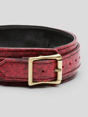 Bondage Boutique Faux Snakeskin Collar with Leash, Red, hi-res