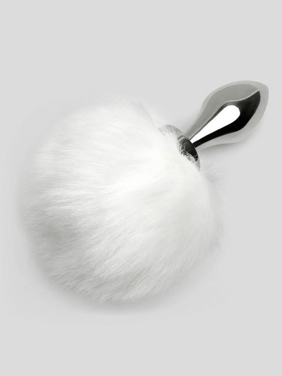 EasyToys Small Aluminium Faux Fur Bunny Tail Butt Plug, Silver, hi-res
