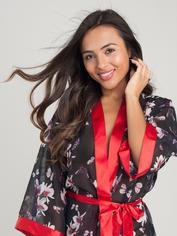 Lovehoney Black Floral Sheer Robe, Black, hi-res