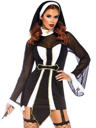 Leg Avenue Black Naughty Nun Set