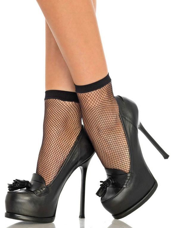 Leg Avenue Black Fishnet Ankle Socks, Black, hi-res