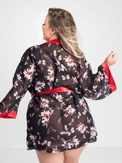 Lovehoney Plus Size Black Floral Sheer Robe, Black, hi-res