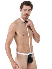 Passion Black and White Wet Look Butler All-in-One, Black, hi-res
