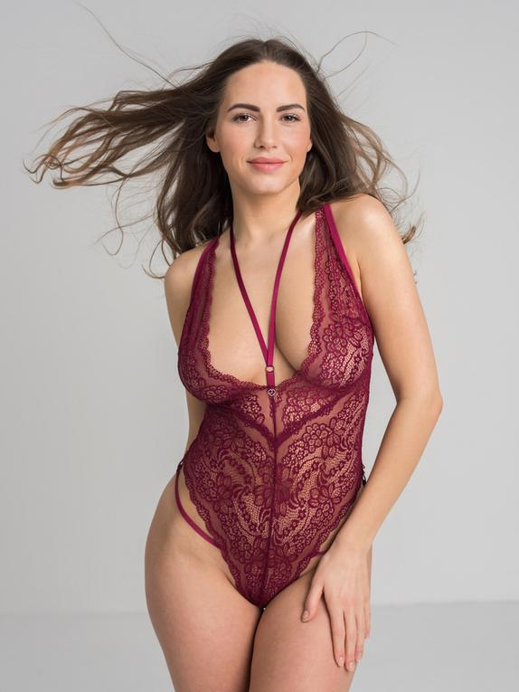 Lovehoney Late Night Liaison Blue Crotchless Lace Teddy, Red, hi-res