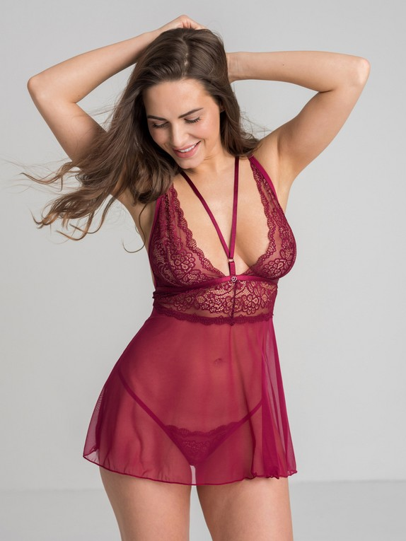 Lovehoney Late Night Liaison Blue Lace Babydoll Set, Red, hi-res