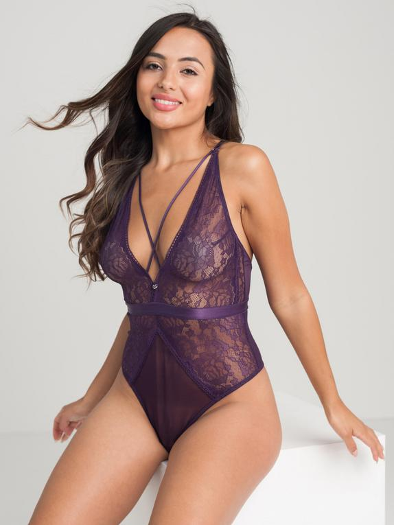 Lovehoney Moonflower Purple Lace Strappy Body, Purple, hi-res