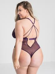 Lovehoney Moonflower Purple Lace Strappy Teddy, Purple, hi-res