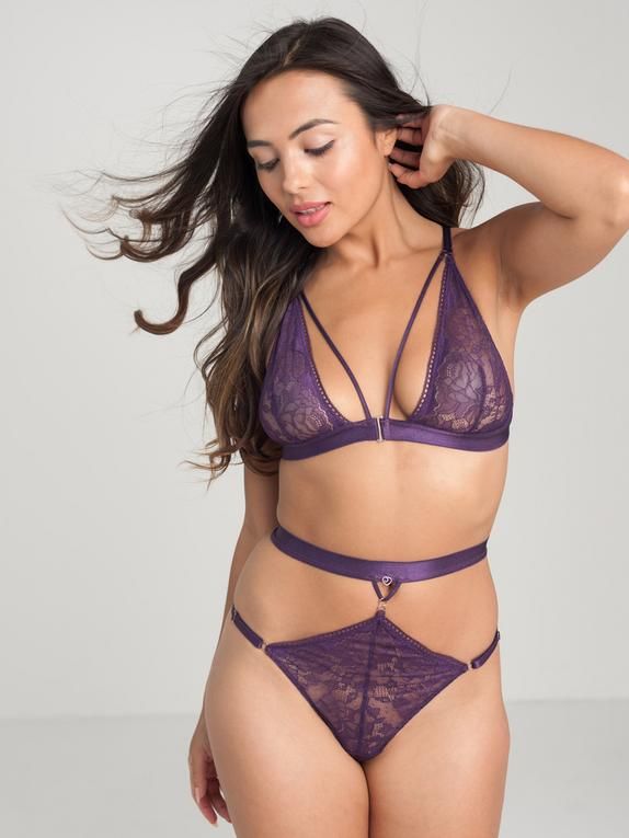 Lovehoney Plus Size Moonflower Purple Lace Strappy Bra Set, , hi-res
