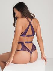 Lovehoney Moonflower Purple Lace Strappy Bra Set, Purple, hi-res