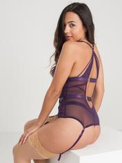 Lovehoney Moonflower Purple Lace Strappy Basque Set, Purple, hi-res