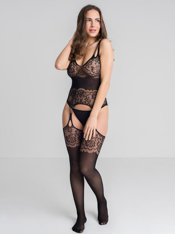 Lovehoney Dark Secret Lace Suspender Bodystocking, Black, hi-res