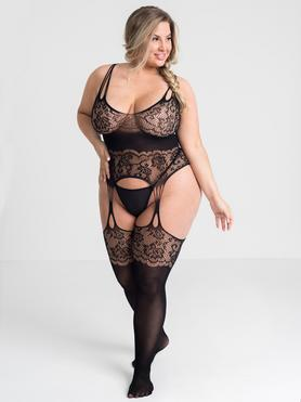 Lovehoney Plus Size Dark Secret Lace Suspender Bodystocking
