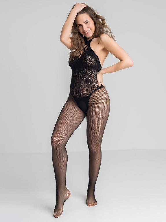 Lovehoney French Kiss Fishnet Crotchless Bodystocking, Black, hi-res