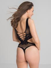 Lovehoney Black Cut-out Deep Plunge Thong Teddy, Black, hi-res