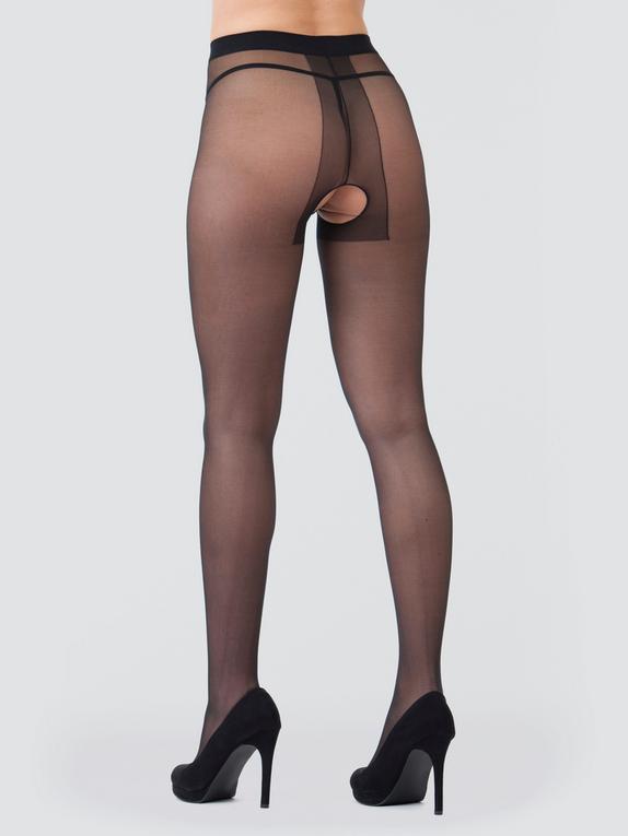 Lovehoney Black Sheer Crotchless Pantyhose , Black, hi-res