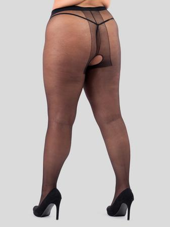 Lovehoney Plus Size Black Sheer Crotchless Pantyhose