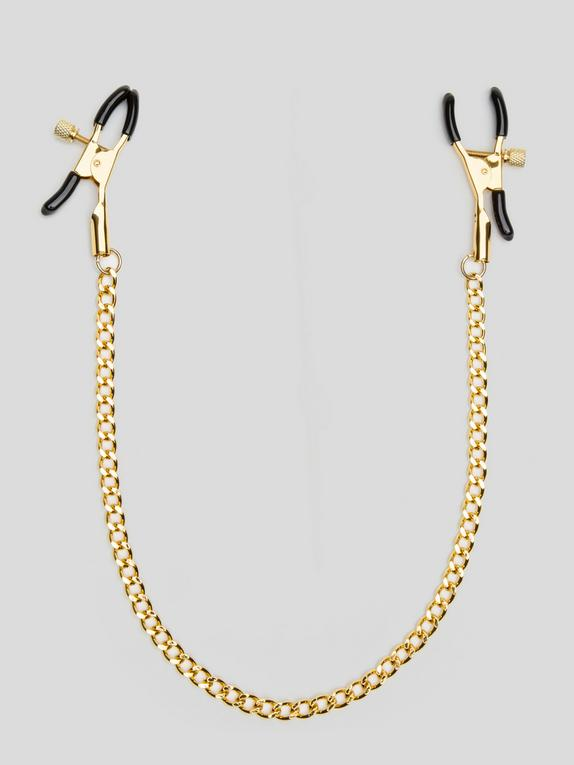 Bondage Boutique Adjustable Nipple Clamps with Gold Chain, Gold, hi-res