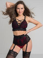 Lovehoney Night Lily Wine and Black Lace Bra Set, Black, hi-res