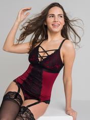 Lovehoney Night Lily Wine and Black Lace Basque Set, Black, hi-res