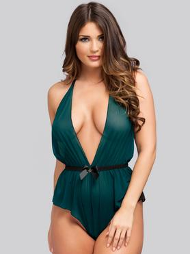 Lovehoney Barely There Sheer Green Crotchless Body