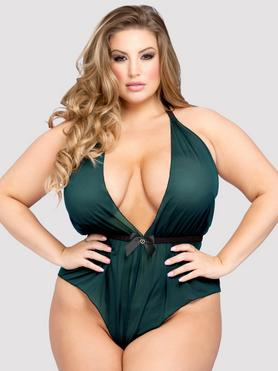 Lovehoney Plus Size Barely There Sheer Green Crotchless Teddy