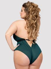 Lovehoney Plus Size Barely There Sheer Green Crotchless Body, Green, hi-res