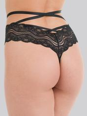 Lovehoney Black Strappy Lace Criss-Cross Crotchless Thong, Black, hi-res