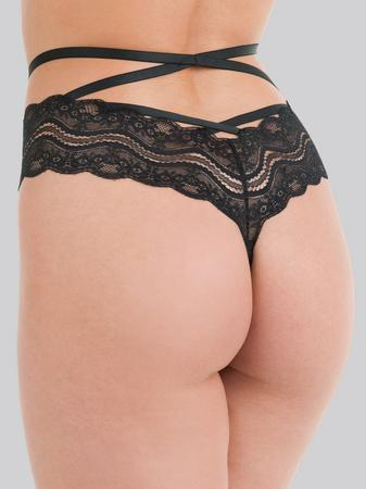 Lovehoney Black Strappy Lace Criss-Cross Crotchless Thong