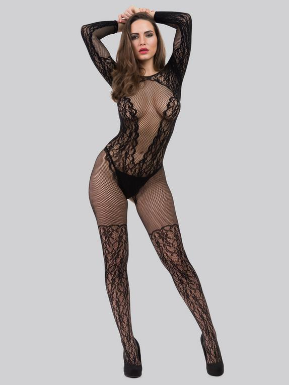 Lovehoney All About That Lace Fishnet Bodystocking, Black, hi-res